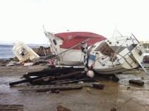 GALLIPOLI - barche distrutte su lungomare Marconi