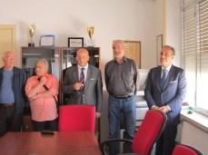 San Giorggio 2014 - Rinnovo gemellaggio. Da sx Giuseppe Scolozzi, il sindaco Tiziano Cataldi, Luigi Monteduro e l'assessore Fabrizio Coluccia