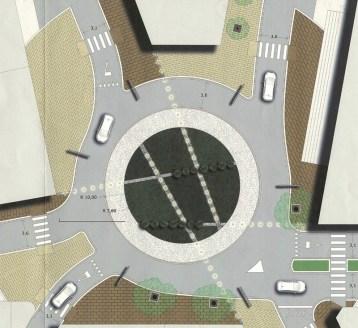 Il progetto di Piazza Porta S. Nicola con la grande rotatoria al centro