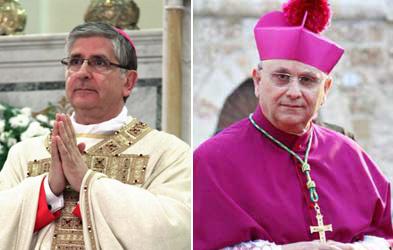 I vescovi Fernando Filograna (Nardò-Gallipoli) e Vito Angiuli (Ugento-Santa Maria di Leuca)