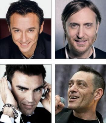 In senso orario, Albertino, David Guetta, Nandu Popu e Gabry Ponte