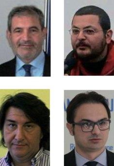 Da in alto a sinistra, in senso orario, il sindaco Gianni Stefàno, il candidato del Movimento 5 Stelle Enrico Giuranno, Emanuele Legittimo e Mauro Memmi