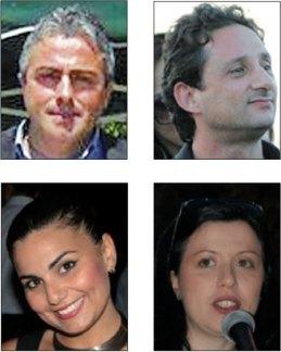Da sinistra in alto in senso orario, Cosimo Piccione, Danilo Scorrano, Maria Greco e Wilma Giustizieri