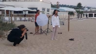 Il set sulla spiaggia di Pescoluse