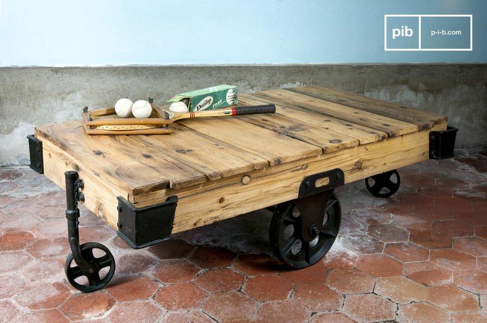 wood wagon coffee table