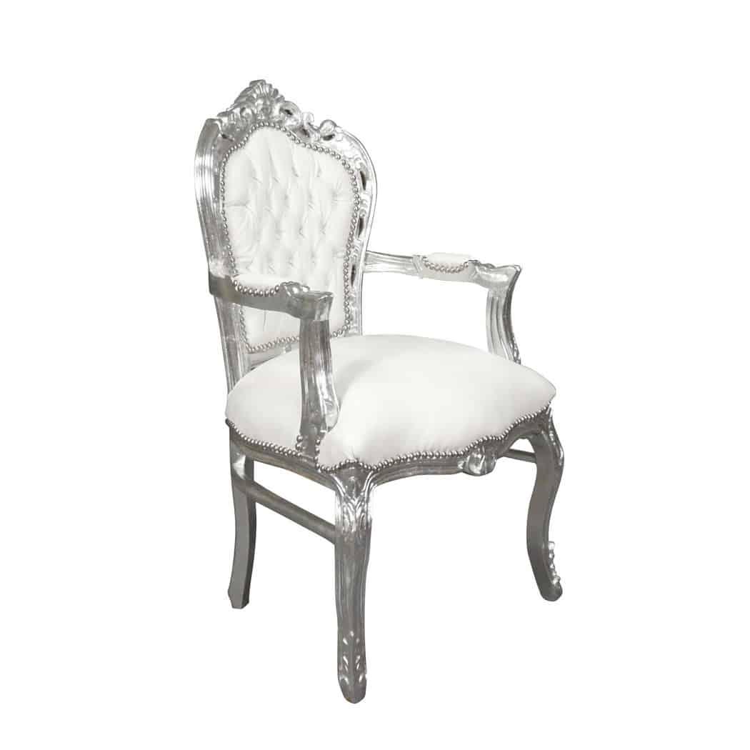 fauteuil baroque blanc et argent
