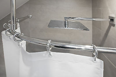aluminium barre en arc sans obstacle de rideau douche ovale chrome blanc