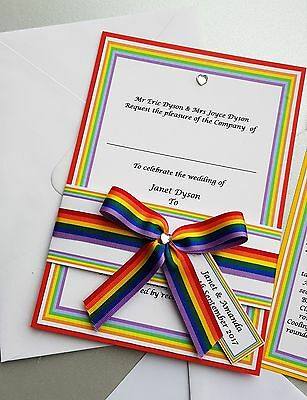 Pride Rainbow Wedding Invitation Set Rsvp Julia