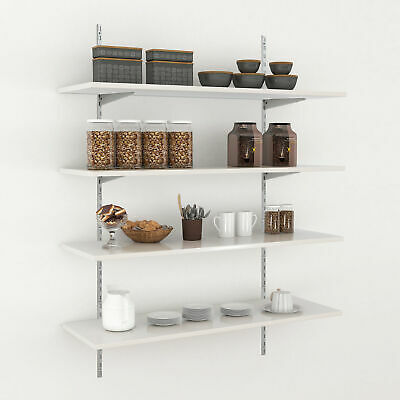 support d etagere murale console double pour cremaillere 2 rangees rail mural