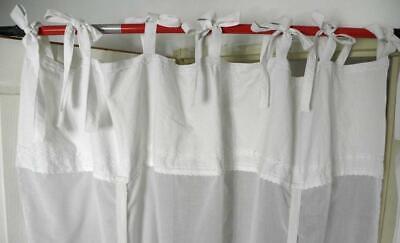 rideau voilage shabby chic vintage fait main blanc dentelle nouettes