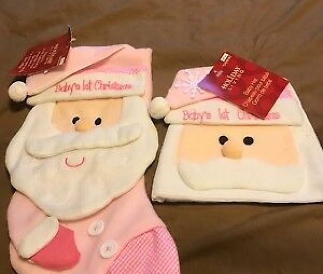Babys First Christmas Stocking And Hat Girl
