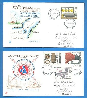 Bbc & Broadcasting History.2 Royal Mail First Day Covers.13 September 1972