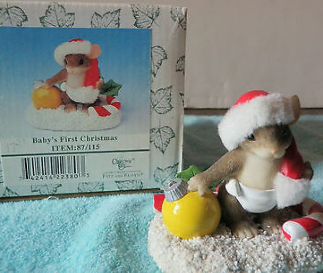 Charming Tails Babys First Christmas Fitz And Floyd Baby Mouse Figurine
