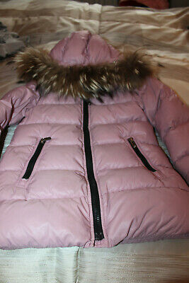 * Eddie Pen * girl's down jacket, with real fur (button-off), old pink, size 6 *