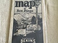 HD Decor Images » 1930 S VINTAGE Map of San Diego Compliments of Bekins Van   Storage     1930 s Vintage Map of San Diego Compliments of Bekins Van   Storage