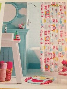NIP CIRCO Shower Curtain Pink Hearts and Green Stripes Love  n     CIRCO 100  Polyester Whimiscal OWL Pattern Fabric SHOWER CURTAIN   72  x