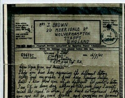 GB Forces MEF *Signal Section* AIRGRAPH 1942 WW2 Censor {samwells-covers}CZ74