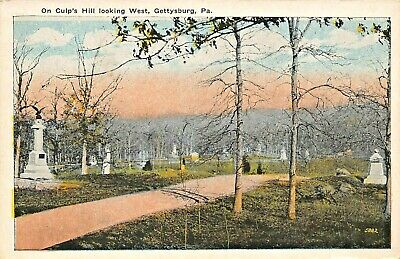 Gettysburg Pa ~ On Culps Hill Looking West-Civil War MONUMENTS-1920s Postal