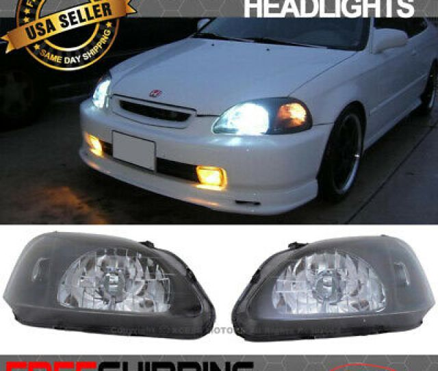 Fits 99 00 Honda Civic Ek Jdm Black Housing Headlights Lamps Head Lamps 2 3