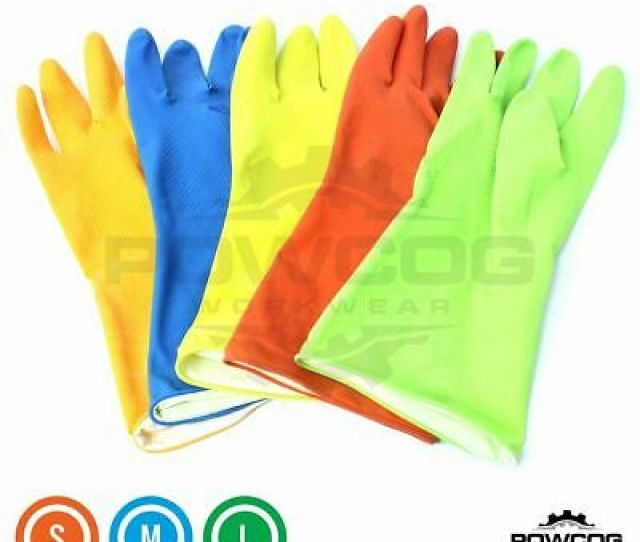 Vibrant Rubber Household Latex Gloves Cleaning Washing Up Kitchen Bathroom
