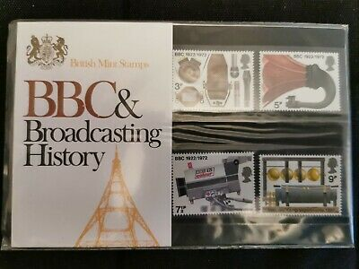Gb presentation pack bbc broadcasting history 1972 stamps mint unmounted
