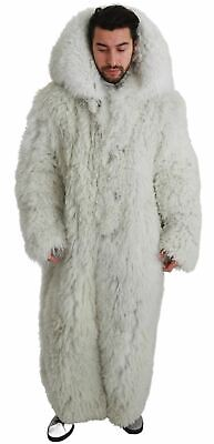 Dolce & Gabbana Men's White Coat Fur Shearling Leather Thermal Fluffy It 56