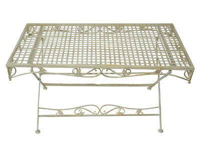table de jardin salon metal fer forge style ancien shabby chic patine blanc