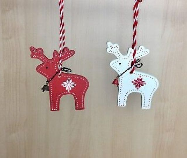 Christmas Wooden Deer Hanging Decoration Red Or Cream Tree Ornament Nordic
