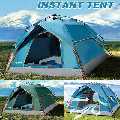 Blue 2-3 Person Tent Camping Tent Instant Auto Pop-Up Tent UK