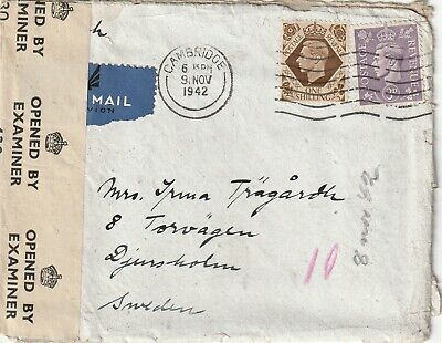 1942 GVI censored cover with letter sent from Cambridge to Djursholm Sweden