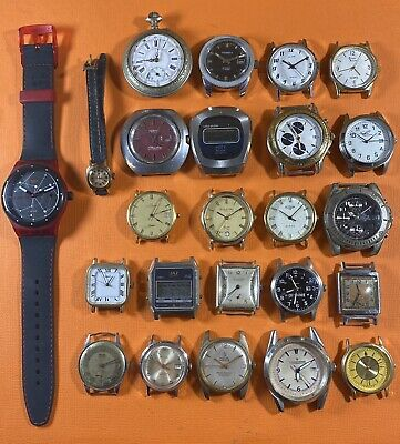 Lot 24 Old Vintage Lip Swatch Mortima Maty Jaz Chronograph Gousset Watch