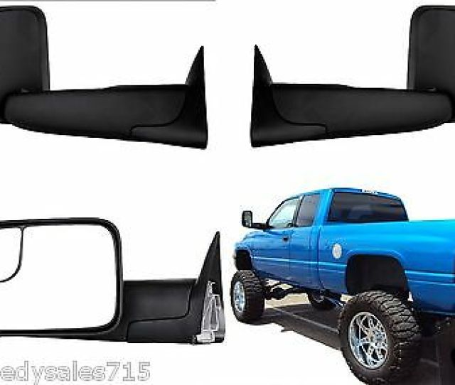 Pair Manual Black Towing Mirrors For 1994 2001 Dodge Ram Trucks New Free Ship