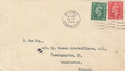 GB Commercial Cover KGV1, 2 x stamps 4d rate, from Birmingham to Finland 1953