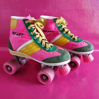 patins a roulettes vintage rollers rose rollet france annees 80 90 fluo t 38
