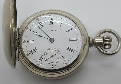 Antique Working 1883 WALTHAM Victorian Full Hunter Gents 18s Silver Pocket Watch