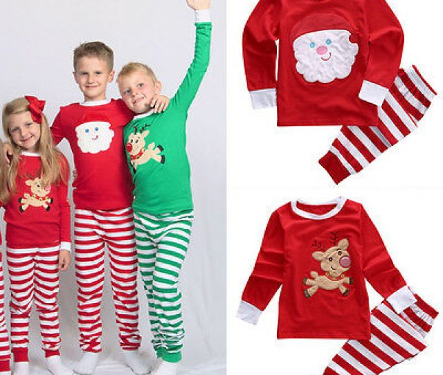 Xmas Kids Children Family Matching Christmas Pajamas Sleepwear Nightwear Pyjamas