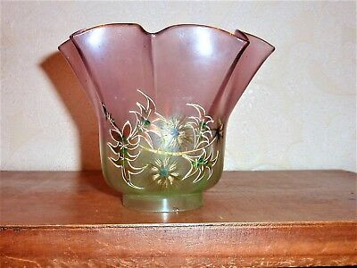 ancienne tulipe pour lampe a petrole verre emaillee old tulip lamp glass lamp