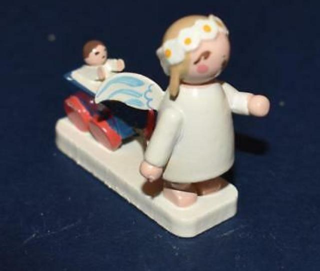Erzgebirge Hand Painted Wooden Angel Pulling Wagon W Baby  H