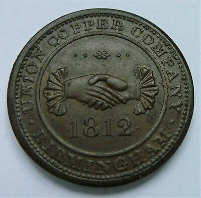 Birmingham, Copper Penny (1d) Trade Token / Coin, 1812, clasped hands