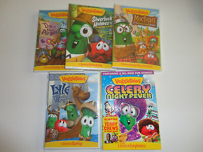 5 Veggie Tales Christian Dvds Celery Night Fever Sheerluck Holmes Maclarry 24 95 Picclick