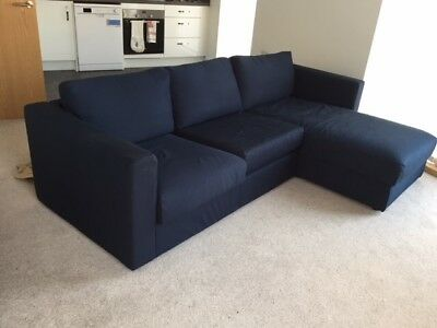Ikea Vimle 3 Seat Sofa With Chaise Longue In Dark Blue Excellent Condition