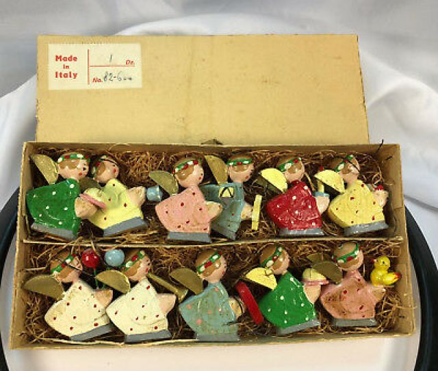 Vintage Made In Italy Angels Christmas Ornaments Wooden Painted  Tall