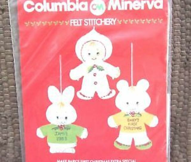 Columbia Minerva Babys First Christmas Felt Ornament Kit Vintage New Cm