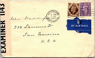 GVI 1s and 3d stamps cover Kettering to San Francisco WWII censored 1942 airmail