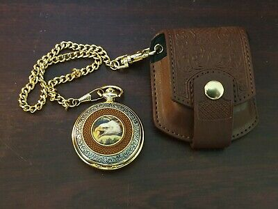 Franklin Mint - The Alaska Chilkat, Bald Eagle Pocket Watch, Chain and Case