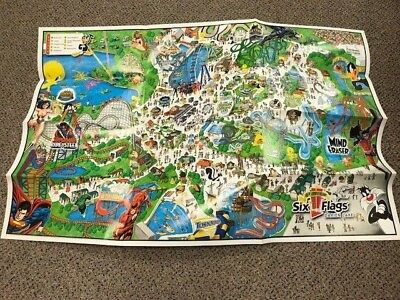 2006 SIX FLAGS Darien Lake amusement park map 33x22 45th Anniversary     2006 Six Flags Darien Lake amusement park map 33x22 45th Anniversary  RARE