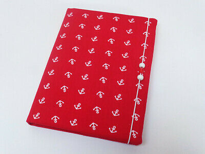 Medium address book in a fabric cover with elastic anchor red NEW telephone book
