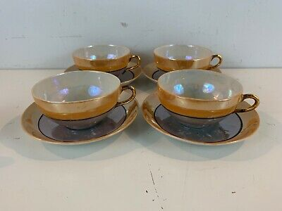 ancien takito japonais porcelaine irise gris or ensemble de 4 tasses