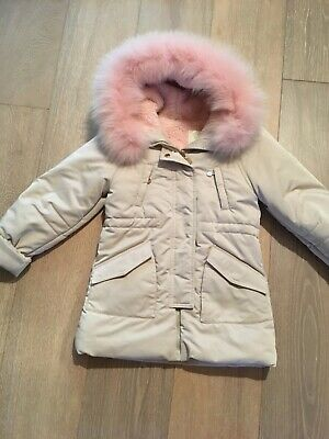 ELSY jacket coat coat 6 years 116 real fur hood Italianische girl Madchen