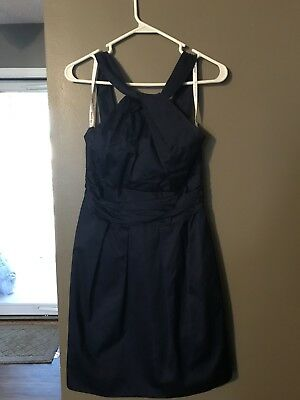 DAVIDS BRIDAL TEA Length Navy Marine Satin Bridesmaid Dress Size 6     Davids Bridal Tea Length Navy Marine Satin Bridesmaid Dress Size 6